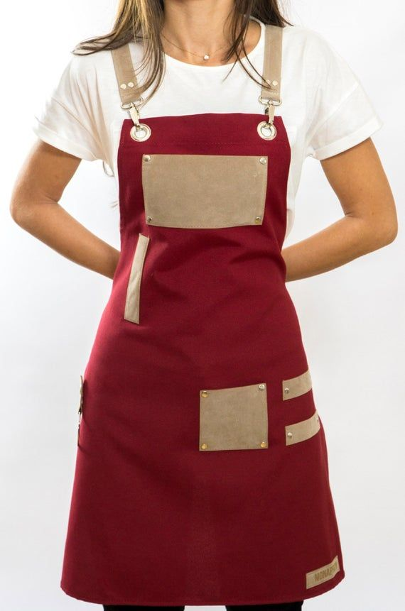 Red Duty Design Apron w/ straps and pockets Etsy in 2020