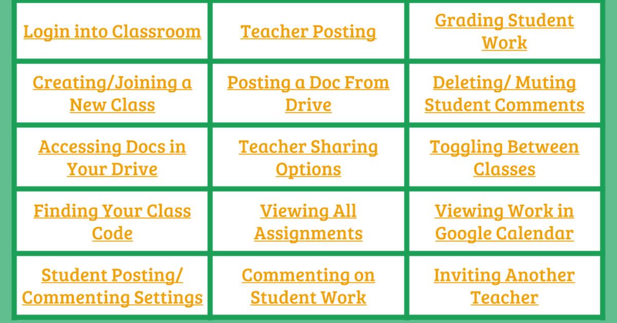 Google Classroom Cheat Sheet Google classroom, Google