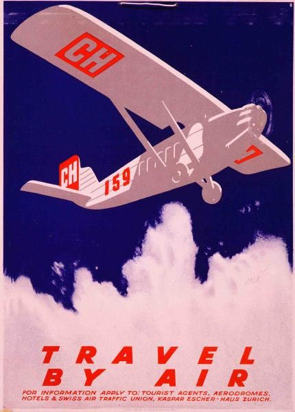 Travel by air-Plakat / Gestaltung: Otto Baumberger 1928
