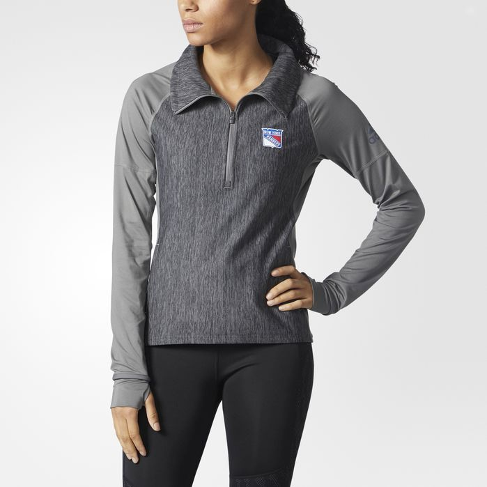 adidas Rangers Vertical Heather Pullover - Womens Hockey Long Sleeve Shirts