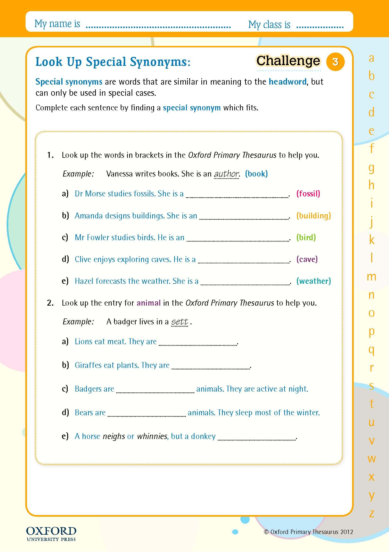 Teaching Children About Special Synonyms And When To Use Them Try This Free