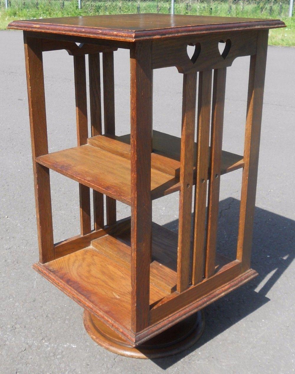 Small Arts Craft Oak Revolving Bookcase 470547