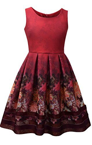 35e0ffa45be Bonnie Jean Big Girls 7-16 Sleeveless Floral Scuba Dress ...