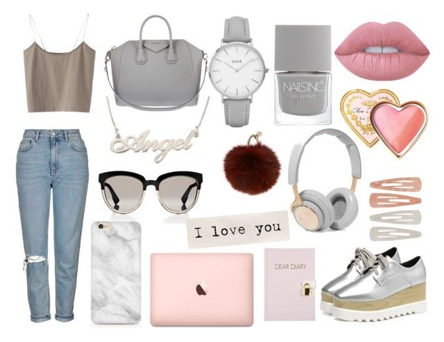 """""""A n g e l"""" by bertastoneez on Polyvore featuring moda, Topshop, Givenchy, Lime Crime, Too Faced Cosmetics, Nails Inc., Christian Dior, Yves Salomon, B&O Play y Forever 21"""
