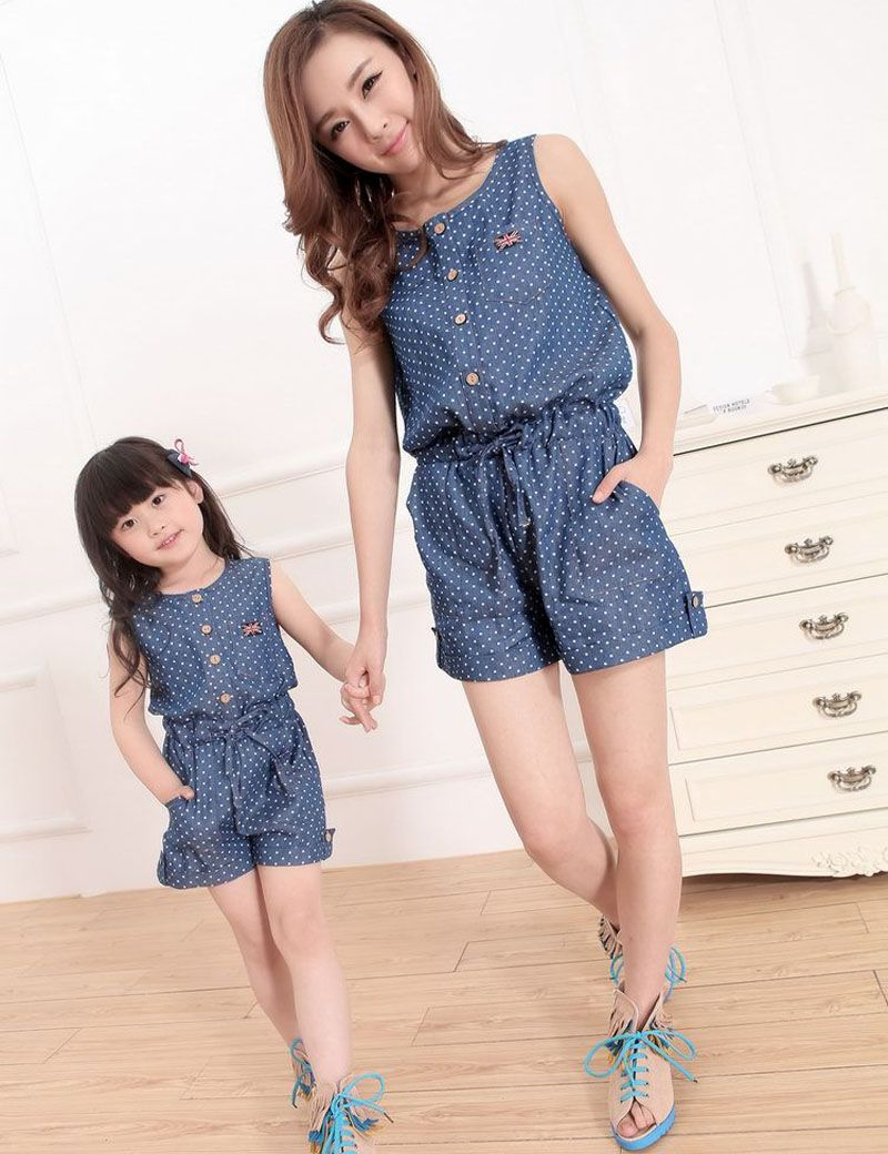 0123974d74f 2016 Summer Mother Daughter Jeans Jumpsuit Matching Mother And Daughter  Clothing Family Matching Clothes Vestido Mae E Filha Dot