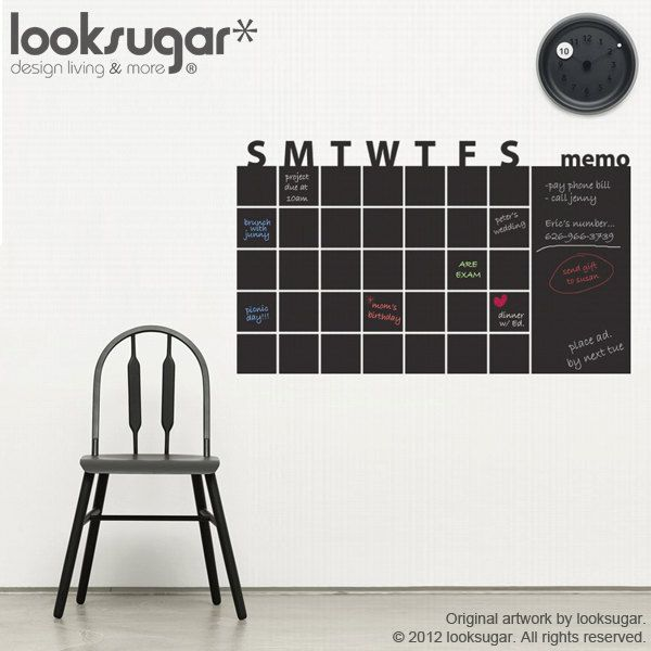 Chalkboard Calendar   Chalkboard Wall Planner   Chalkboard Wall Decals    Chalkboard Wall Sticker   Chalkboard