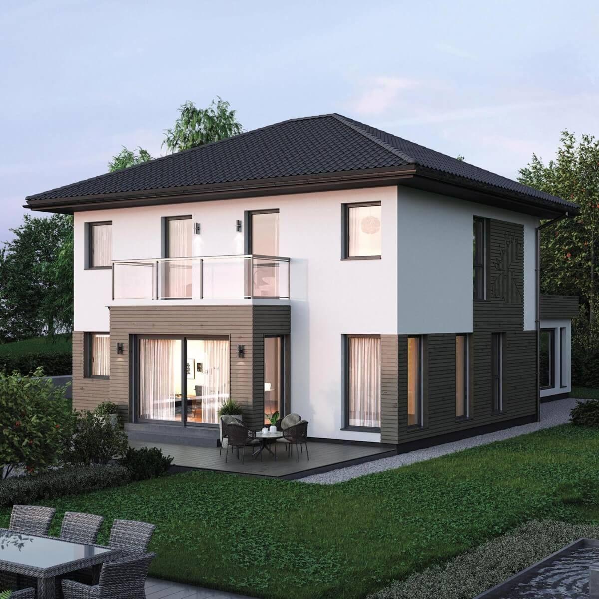 Stadtvilla modern mit Büro Anbau, Holz Fassade & Walmdach