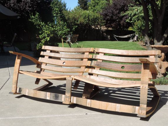 Wine barrel project rocking bench reciclando barriles de - Barriles de vino ...
