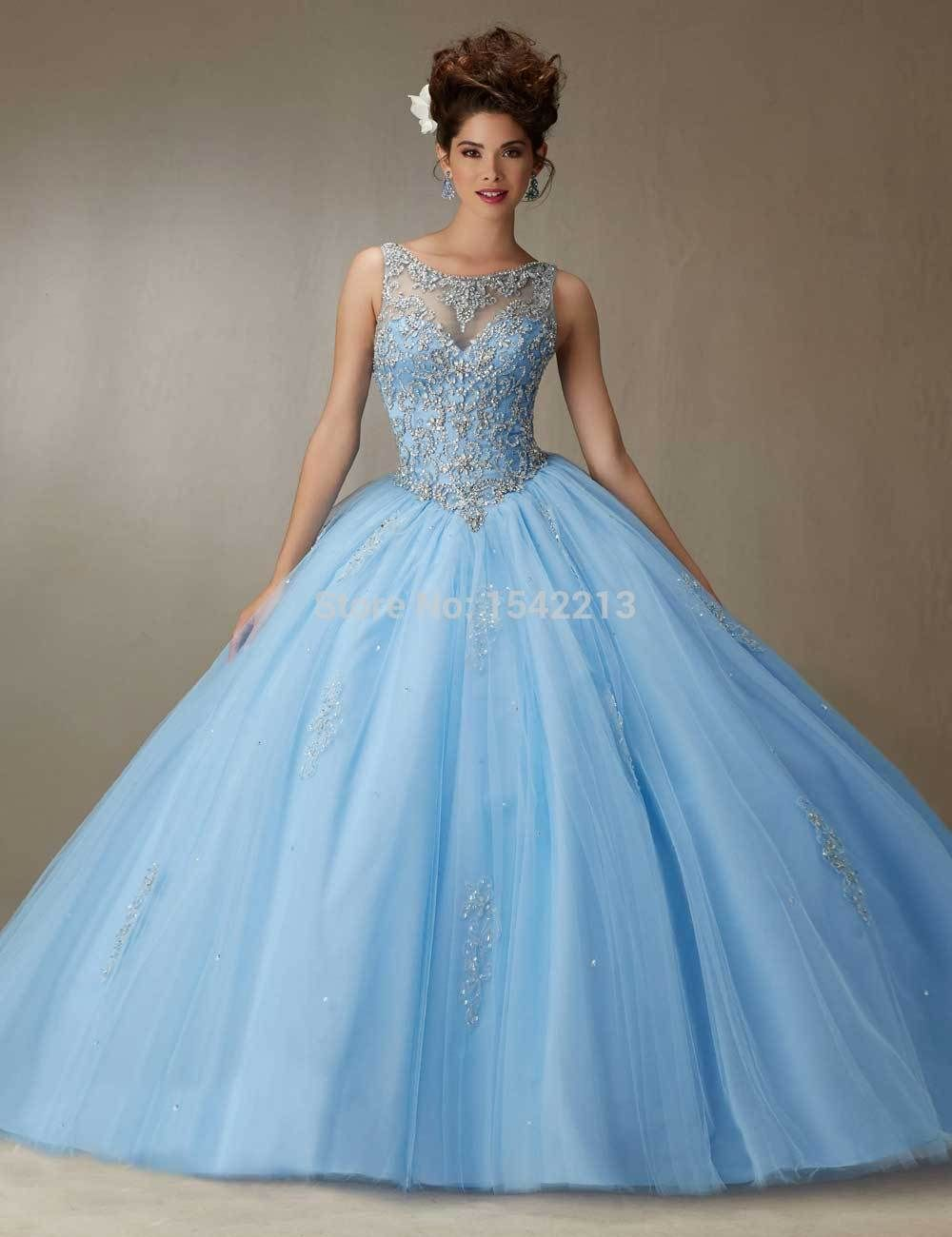 Light Sky Blue Pink Ball Gown Quinceanera Dress Heavy Beaded Sexy ...