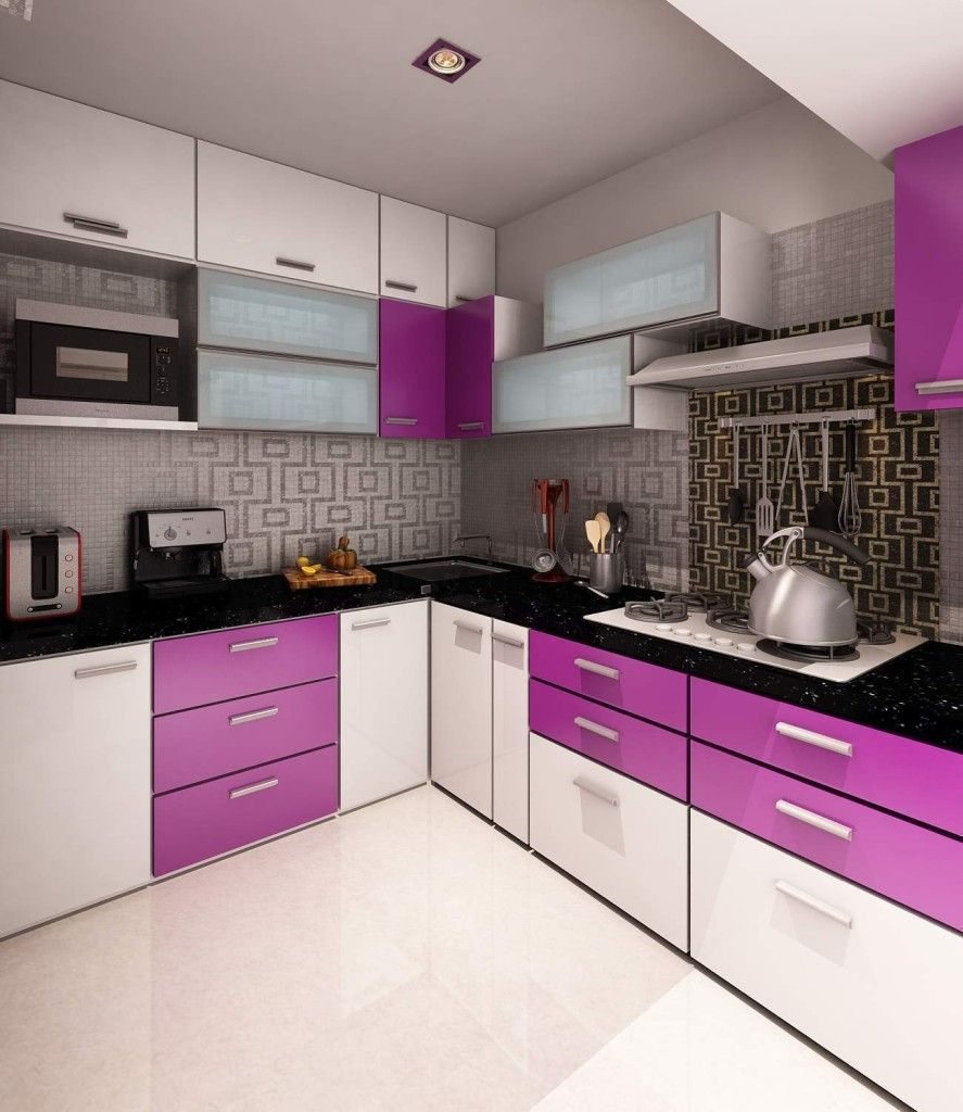 Small Purple Kitchen Cabinets Images