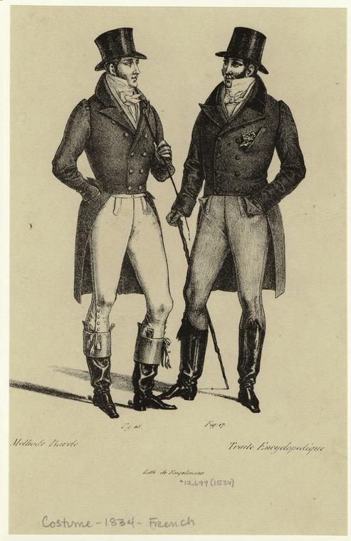 [Men in tailcoats and top hats, France, 1830s.] Men -- Clothing & dress -- France -- 1830-1839