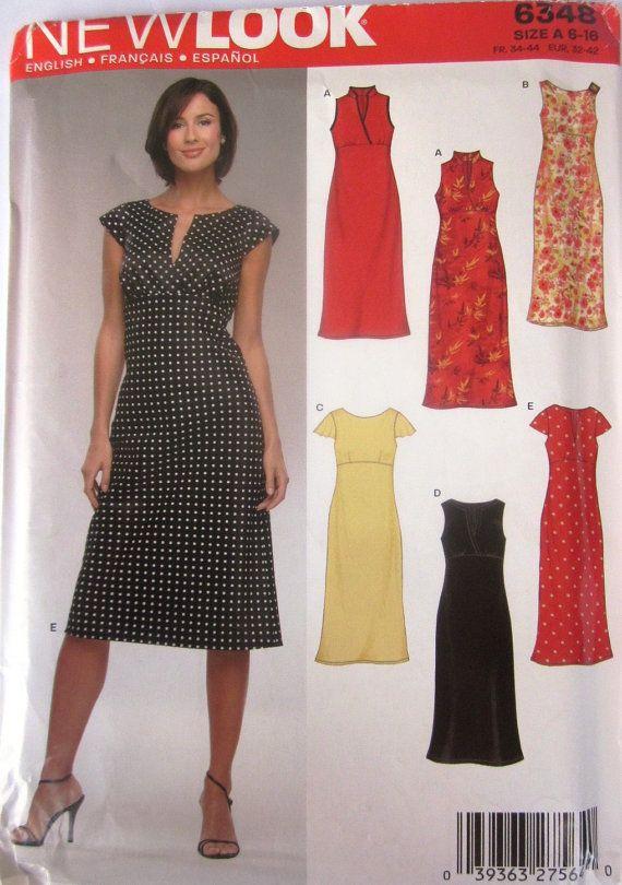New Look 6348 Womens Empire Waist Dress Pattern New Sewing
