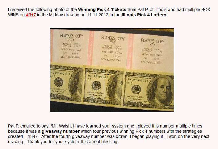 Winning Tickets produced by Proven Pick 4 Lottery System   Pick 4