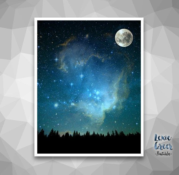 Night Sky Print Moon And Sky Starry Sky Poster Night Landscape Scenery Printable Wall Art Instant Download Watercolor Night Sky Sky Art Galaxy Painting