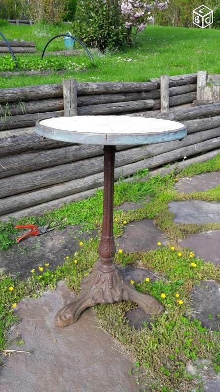 Table ronde ancienne bistrot fonte, marbre Décoration Seine-et-Marne ...