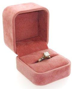 Pink Suede Ring Box