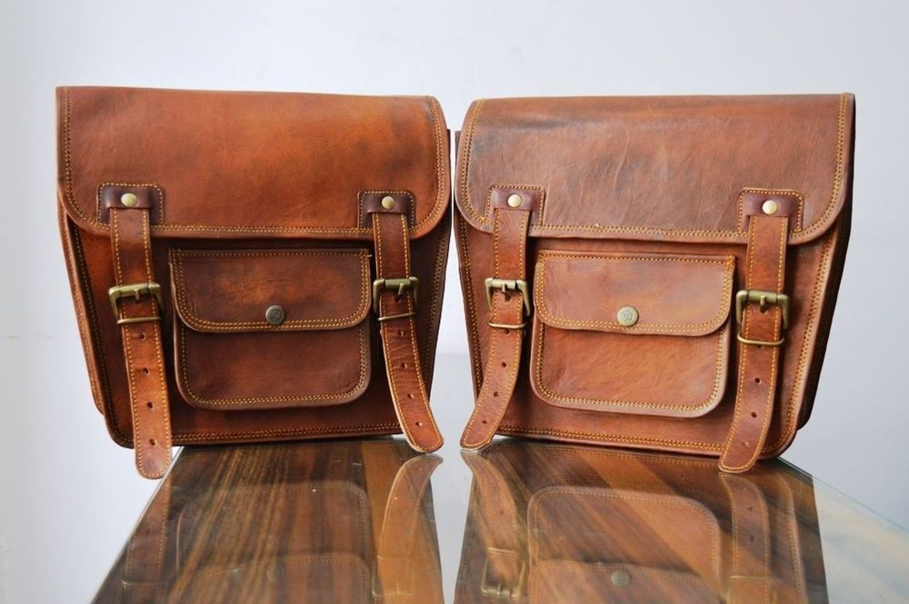 Saddlebag  Brown Leather Motorcycle Side Pouch  Saddle Side 1 Bag Panniers
