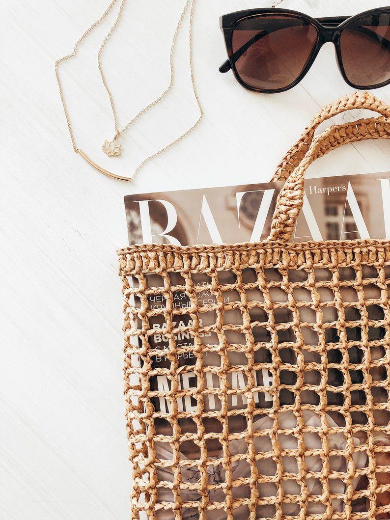 Bolso de paja, bolso de rafia, bolso de rafia Boho, bolso de rafia de playa, bolso de paja hecho a mano, bolso de red de rafia, bolso de rafia de ganchillo, bolso de malla de paja,  – Bolsa