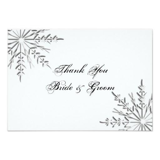 Snowflake Winter Wedding Thank You Notes - Flat Card