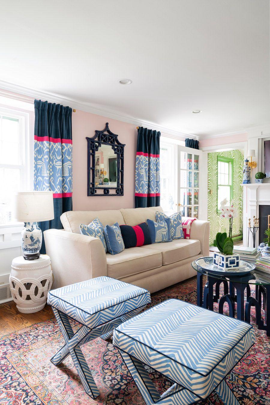 Happy Home Tour Meredith S Vibrant Retreat Jill Sorensen Lifestyle Brand Interior Designer In 2020 Preppy Decor Couches Living Room Modern Living Room