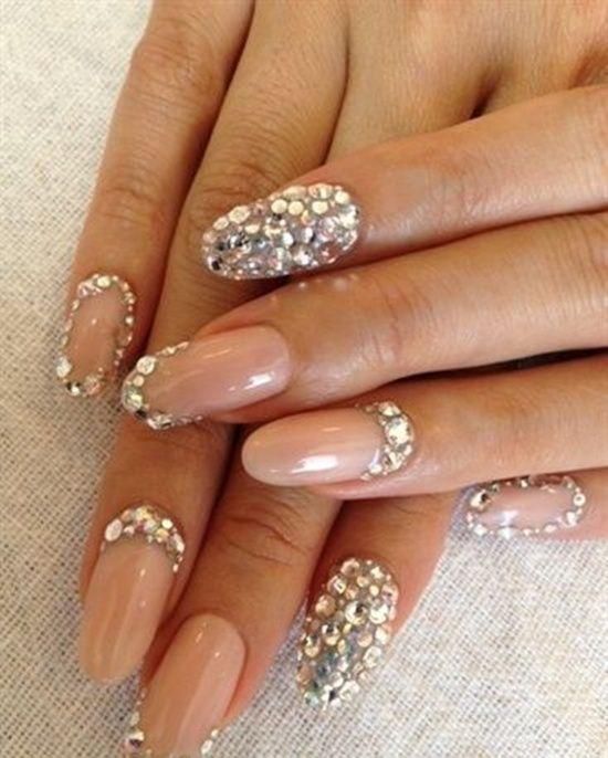 Wedding nails bridal nail art wedding nails art and bridal nails nude wedding nails with heavy crystals prinsesfo Image collections