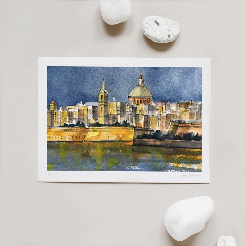 Malta Landscape Valletta Wall Art Malta Watercolour Etsy In 2020 Fine Art Painting Watercolor Images Art