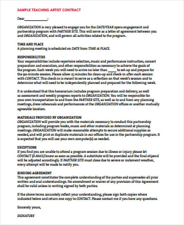 This Artist Agreement Contract Considerably Simplifies The