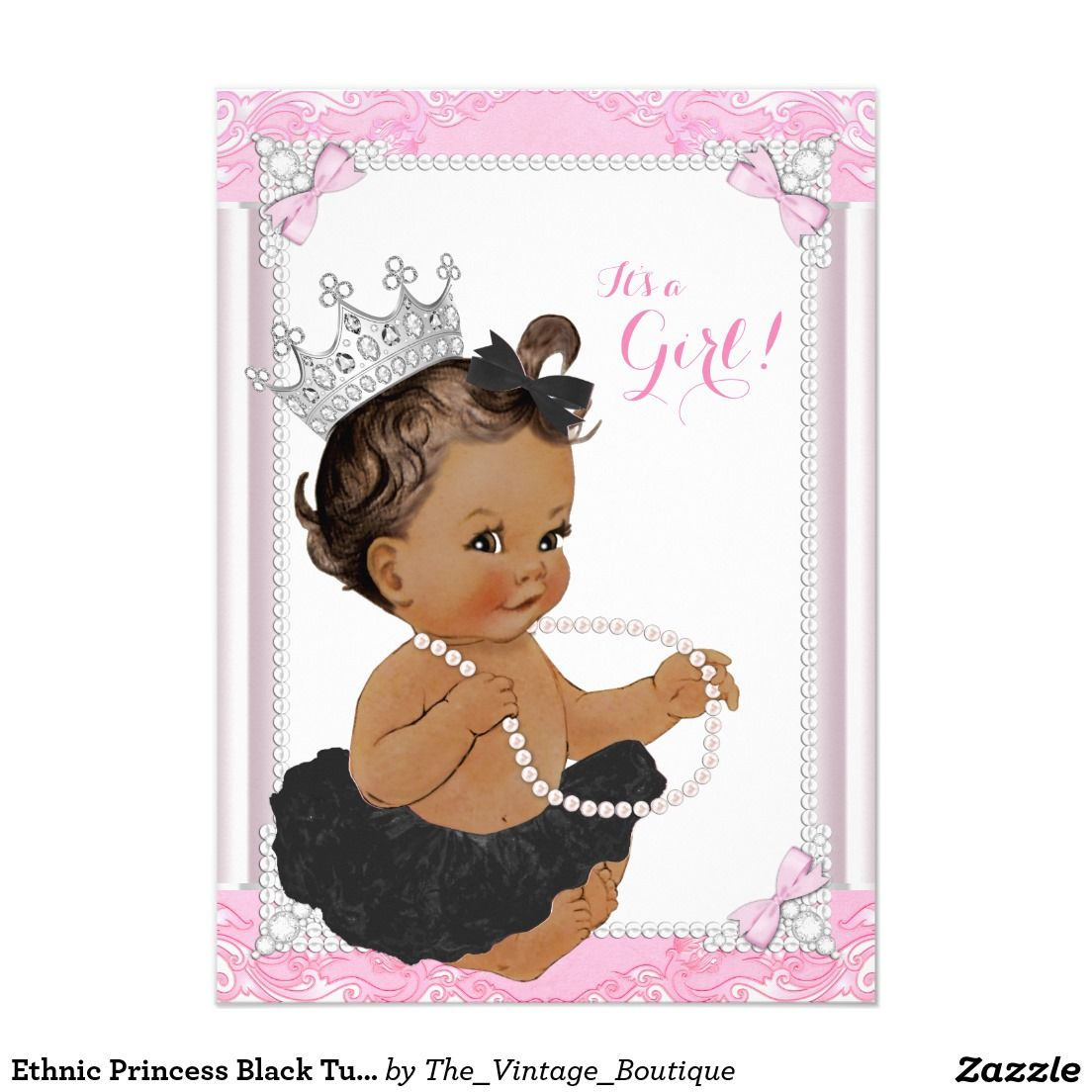 ethnic princess black tutu lace pearl baby shower card | lace, Baby shower invitations