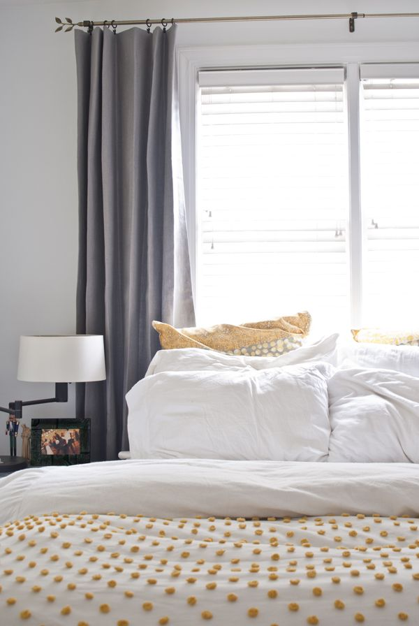 Grey Linen Curtains In A Bright White Bedroom With Yellow Accents. Does It  Work?