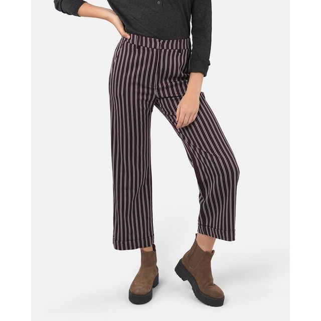 Photo of Brownie – Women's Wide Leg Pants in Brownie Stripe Print