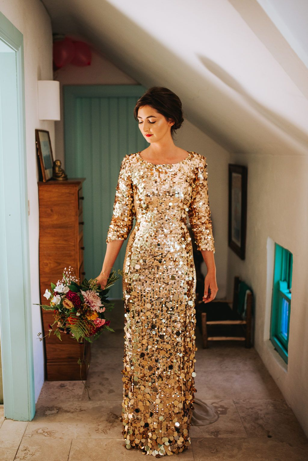 We Could Not Be Bigger Fans Of This Bride S Gold Sequin Wedding Dress In 2020 Ireland Wedding Dress Wedding Dress Sequin Gorgeous Bridesmaid Dresses