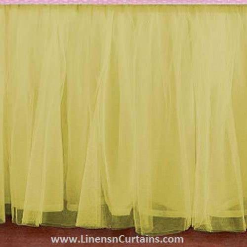 Any Size Yellow Tulle Bed Skirt Dust Ruffle Velcro Detachable Queen Full Twin Xl Cal King Daybed Extra Long Split Corner In 2020 Tulle Bedskirt Ruffle Crib Skirt Tutu Crib Skirt