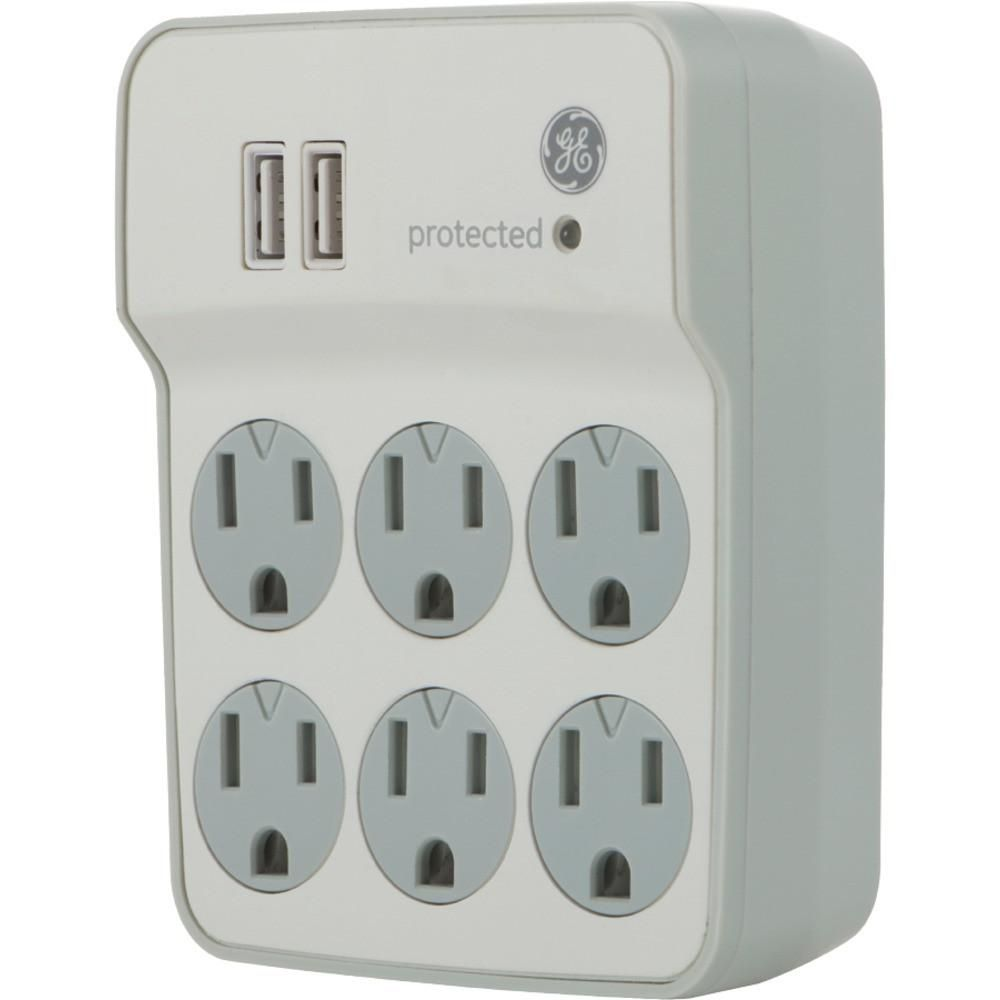Ge 6-outlet Surge Protector Wall Tap With 2 Usb Ports  db319a120