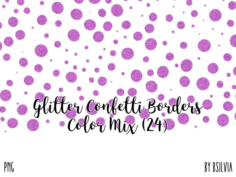 Etsy Shop Glitter Confetti Borders Pack Silver PNG