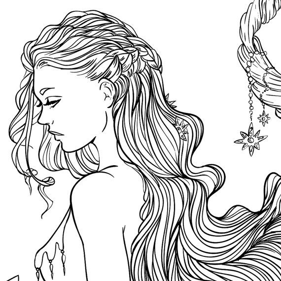 Adult Coloring Page Fantasy Moon and Stars Girl Line Art ...