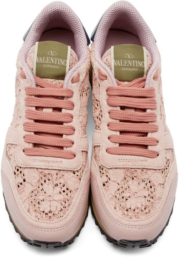 68403a95c Valentino - Pink Lace Rockstud Low-Top Sneakers
