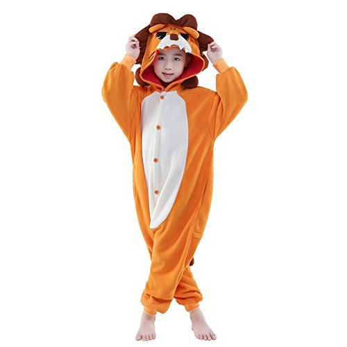 NEWCOSPLAY Unisex Children Animal Lion Pajamas Halloween Costume