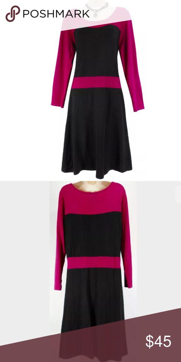 1d0debee8d49b Selling this Size XL FUCHSIA BLACK COLORBLOCK SWEATER DRESS on Poshmark! My  username is