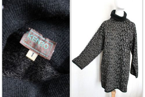 KENZO-robe-pull-oversized-col-roule-imprime-jacquard-leopard-taille-1-S-M