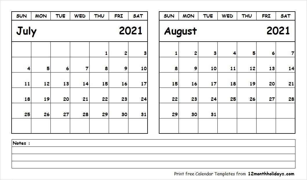 Blank Calendar July August 2021 In 2020 Calendar Printables Printable Calendar July 2019 Calendar