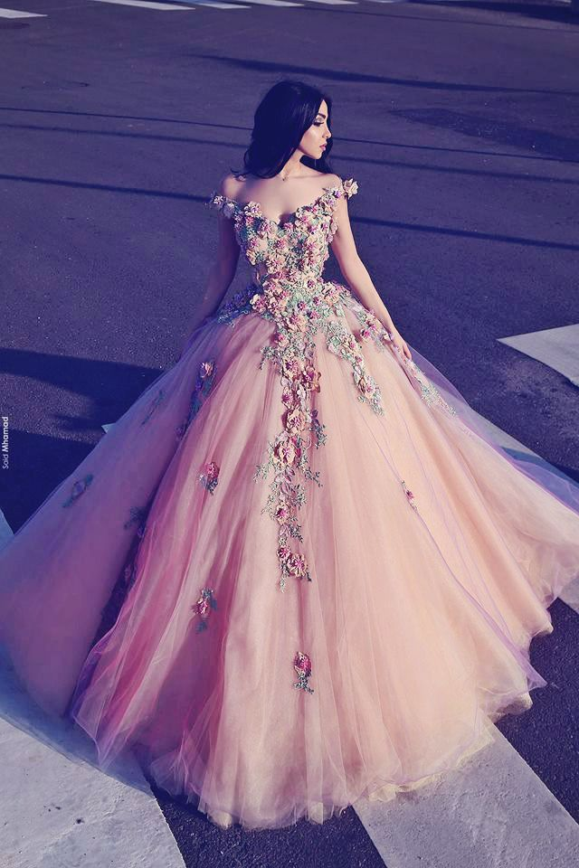 This garden-inspired ball gown from Organza Al Ahmar is enchanting ...