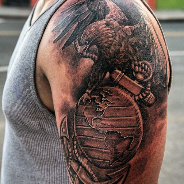 Military eagle globe anchor tattoo on chest photo 2 for Marine tattoo sleeves