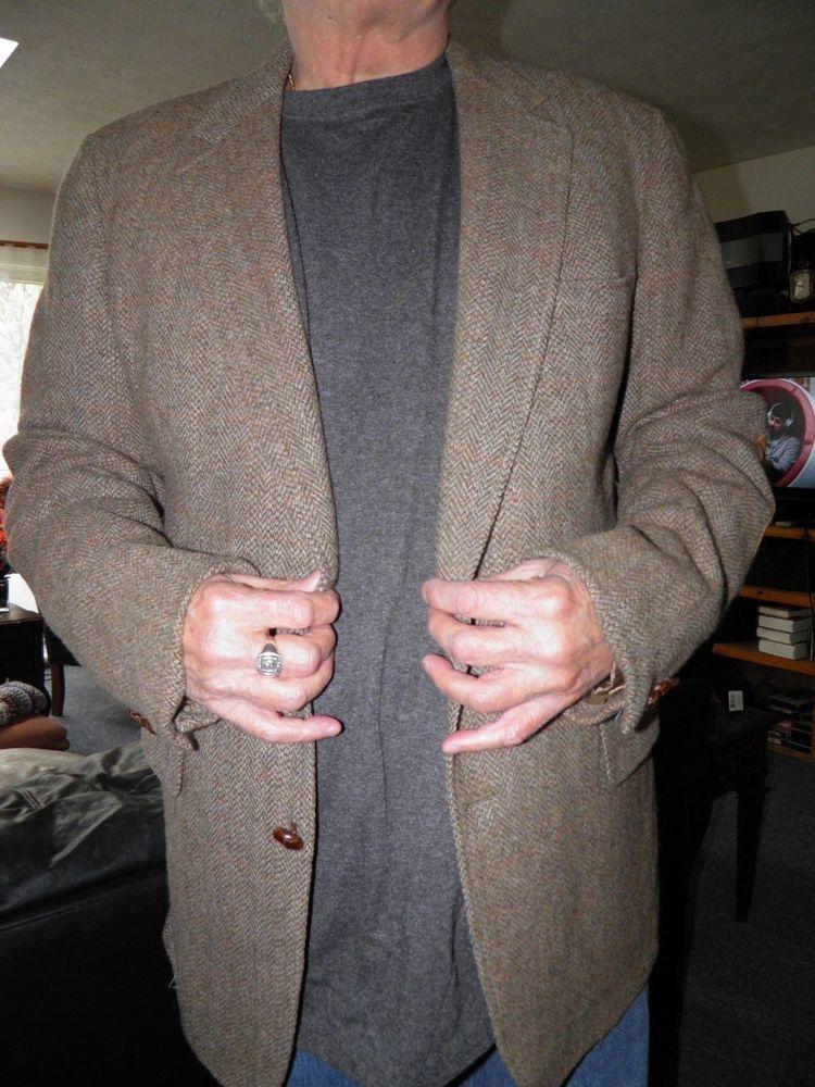 Men's Tan Herringbone Tweed Cricketeer with Elbow Patches