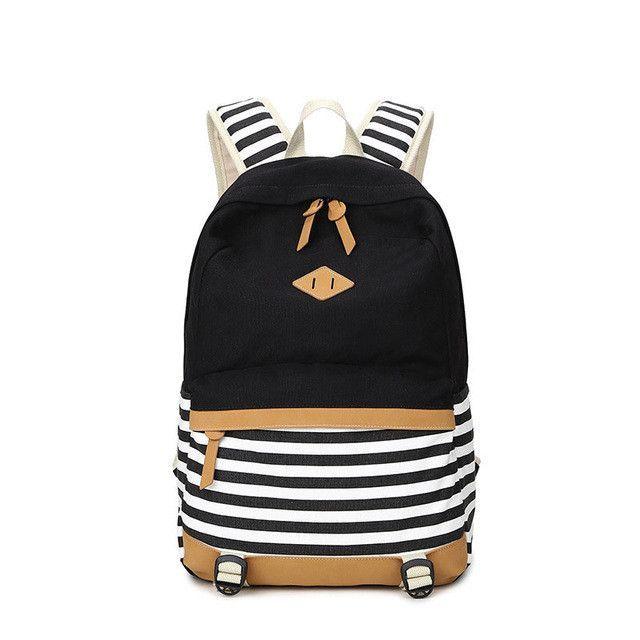 Canvas Backpack Striped Women Bagpack Teenagers Backpacks For Teenage Teen  Girls Youth Feminine Backpack Girl Mochila Feminina cf95ac34e6c2c