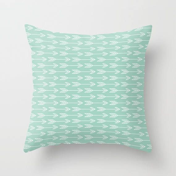 Arrows Pillow Arrow Pillow Mint Blue Pillow Seafoam Green