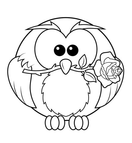 Owl With Rose Ausmalbild Malvorlage Eule Malvorlagen Blumen Und Ausmalbilder