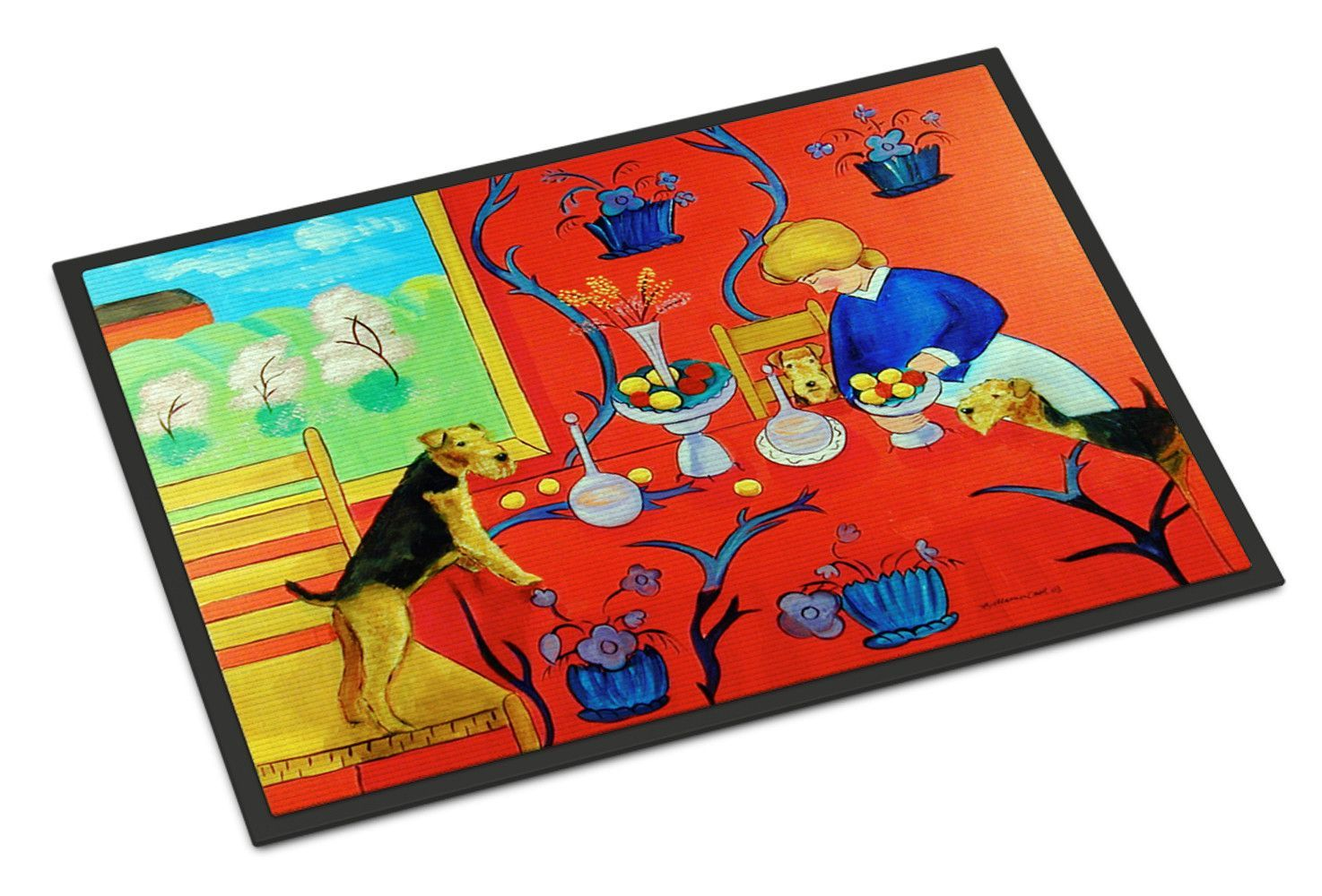 Airedale Terrier with lady in the kitchen Indoor or Outdoor Mat 18x27 Doormat