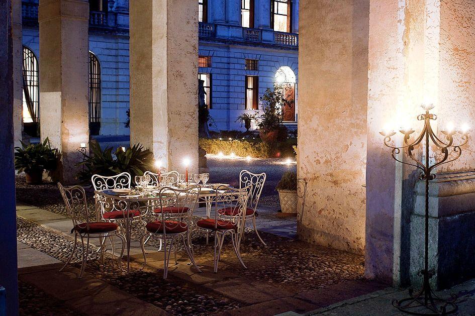 A romantic dinner setting at our villa, La Barchessa, near