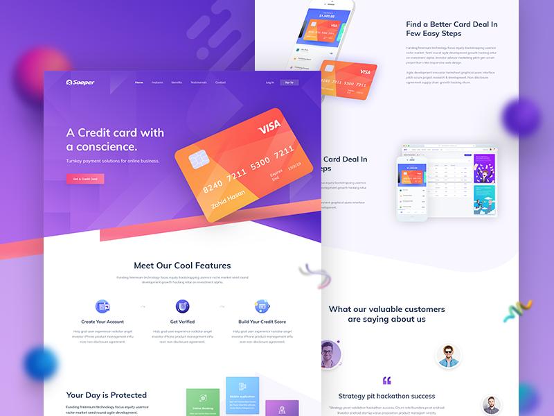 Credit Card Landing Page Design V2 Landing Page Design Credit Card Design Credit Card Website
