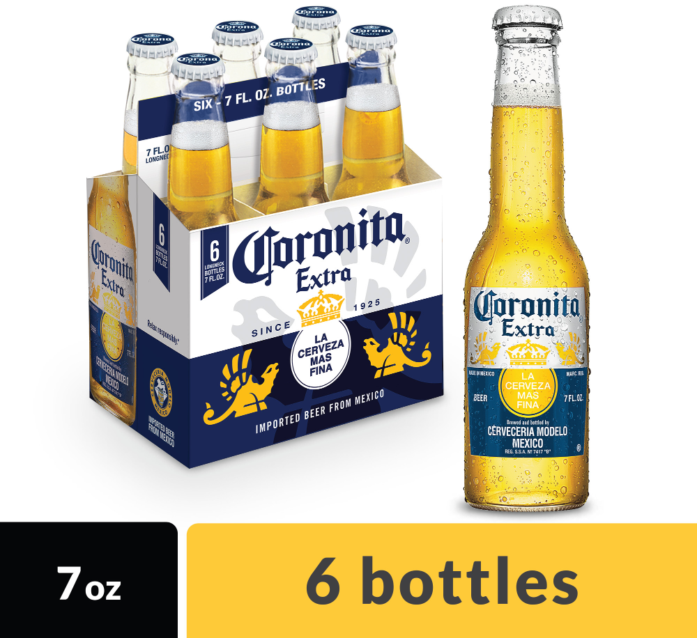 Corona Extra Coronita Mexican Lager Beer 6 Pk 7 Fl Oz Bottles 4 6 Abv Walmart Com In 2021 Beer Bottle Corona Beer Cake